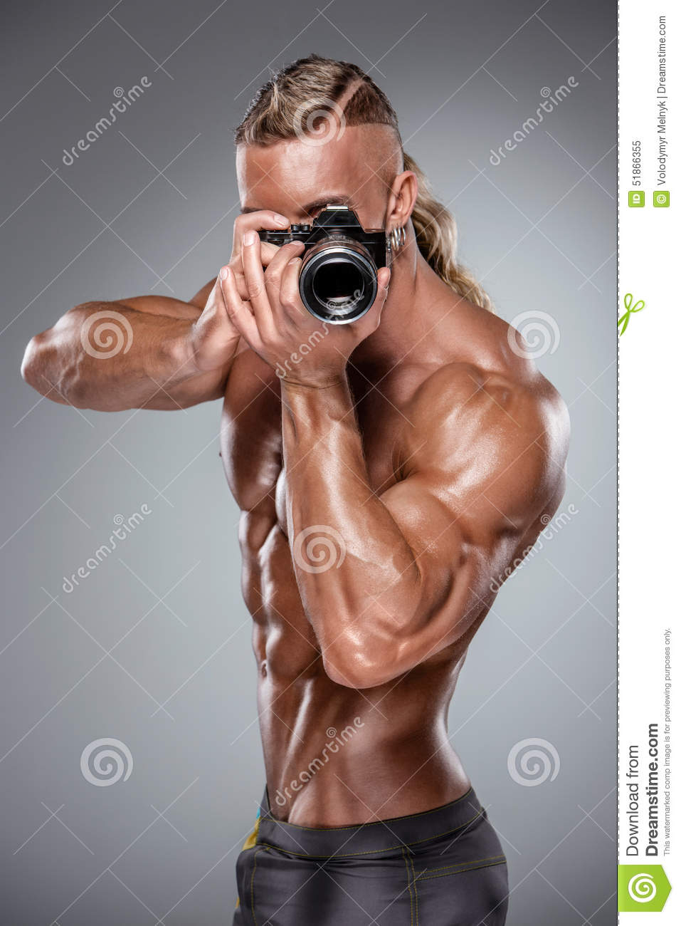 Download Attractive Male Body Builder On White Background Stock Image - Image of camera, photo: 51866355