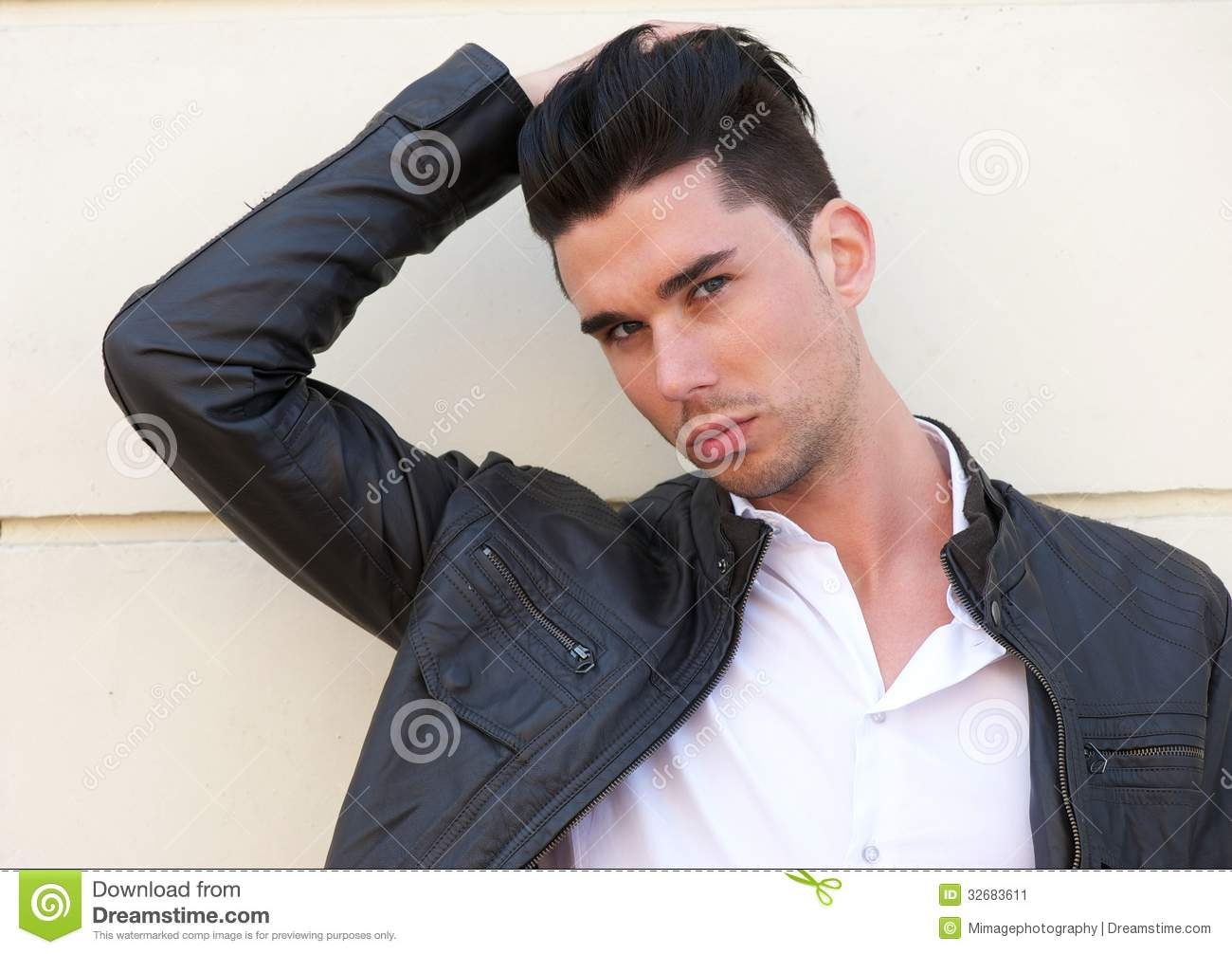 Attractive Male Model With Hand In Hair Stock Image