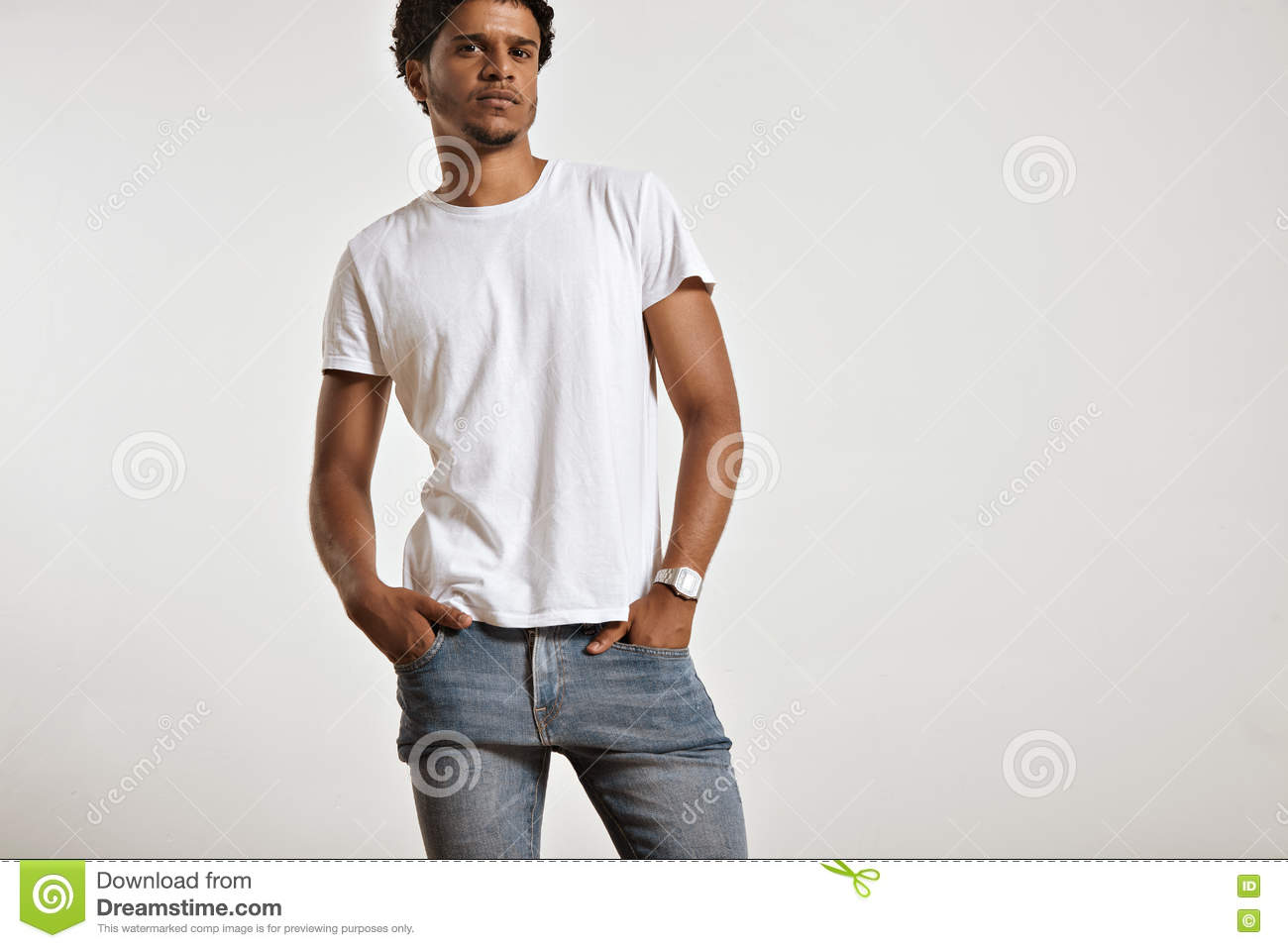 Black t shirt light blue jeans - Black T Shirt With Blue Jeans Attractive Male Model Presenting Blank White T Shirt Stock
