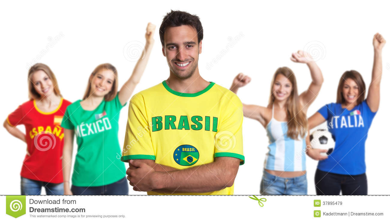 Attractive Man From Brazil With Four Female Sports Fans ...