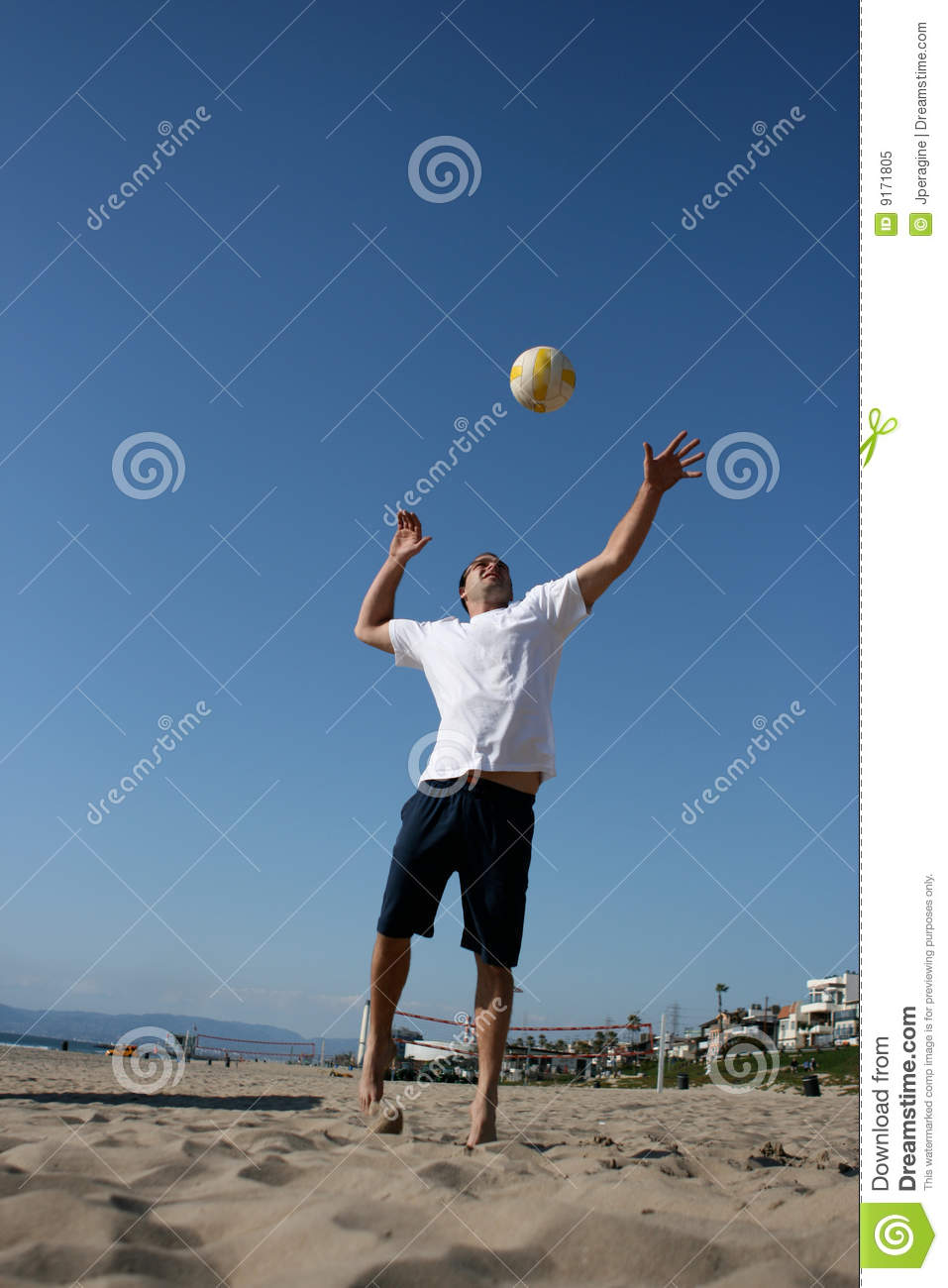 Attractive Man Serving Volleyball Royalty Free Stock Photo ...
