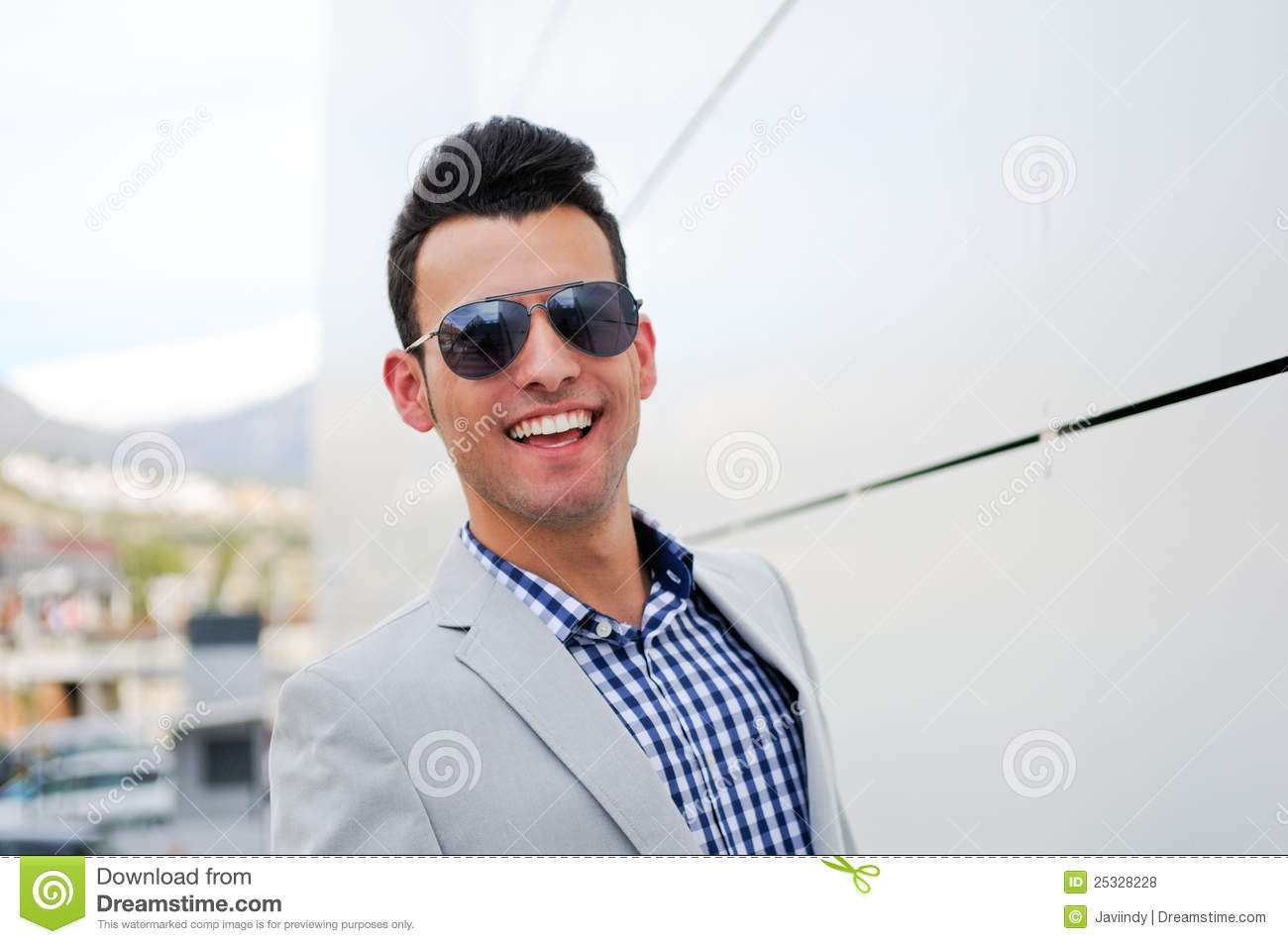 Attractive Man With Tinted Sunglasses Royalty Free Stock