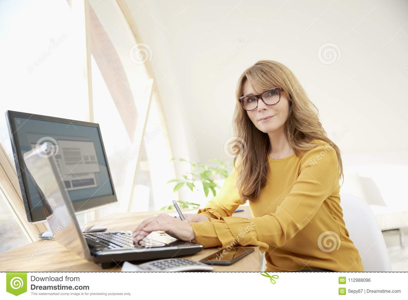 Investment advisor businesswoman with laptop