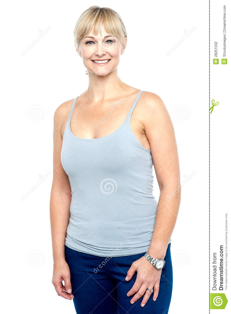 Attractive Middle Aged Woman In Spaghetti Top Stock Photography ...