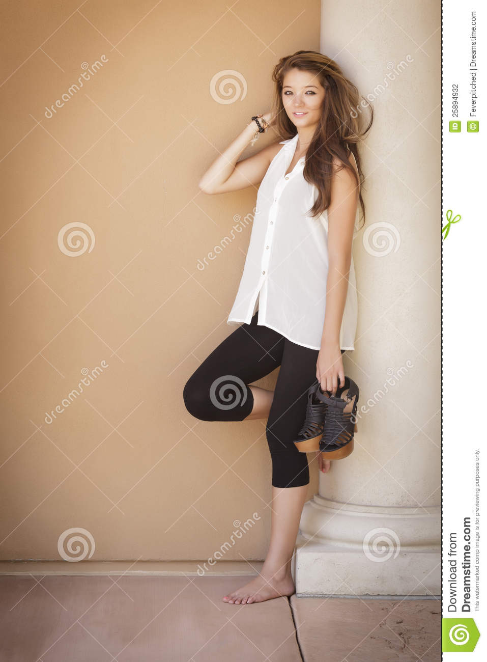 Attractive Mixed Race Teen Portrait Stock Photo