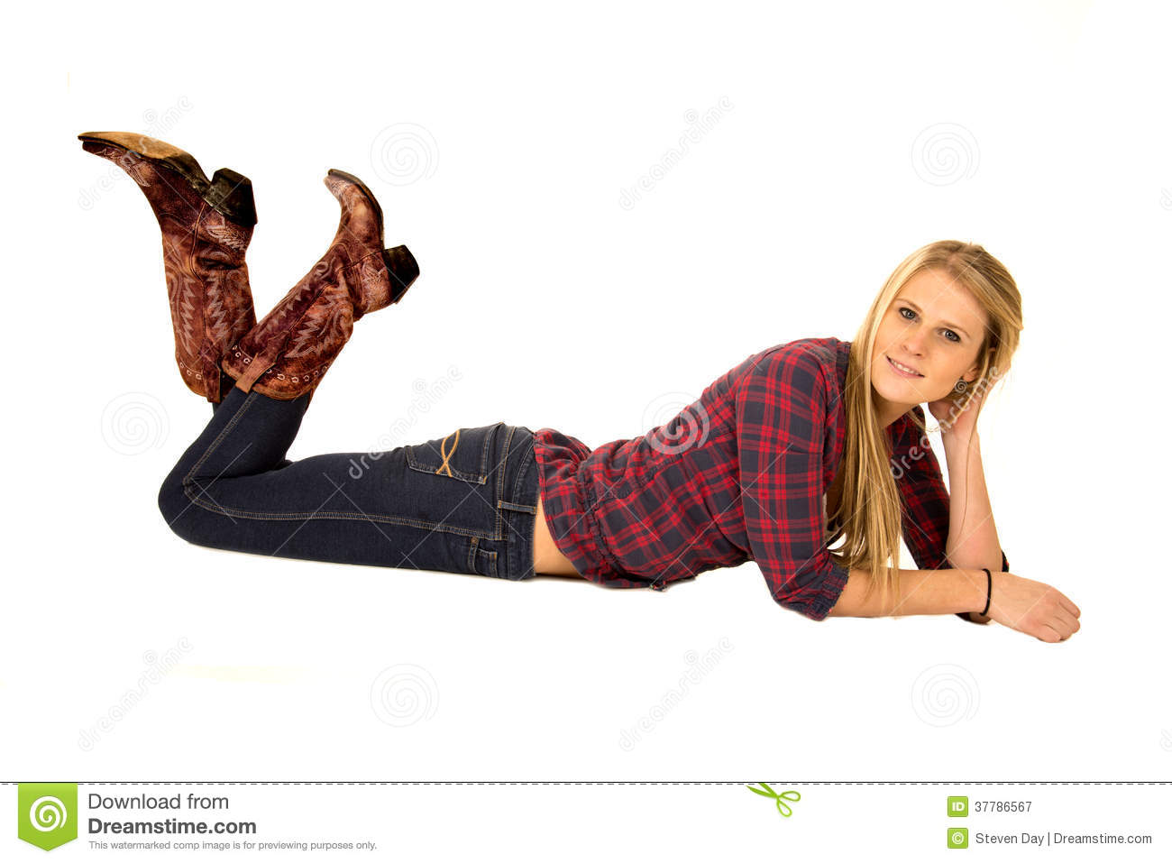 Attractive Model Laying Down Wearing Cowboy Boots Smiling ...