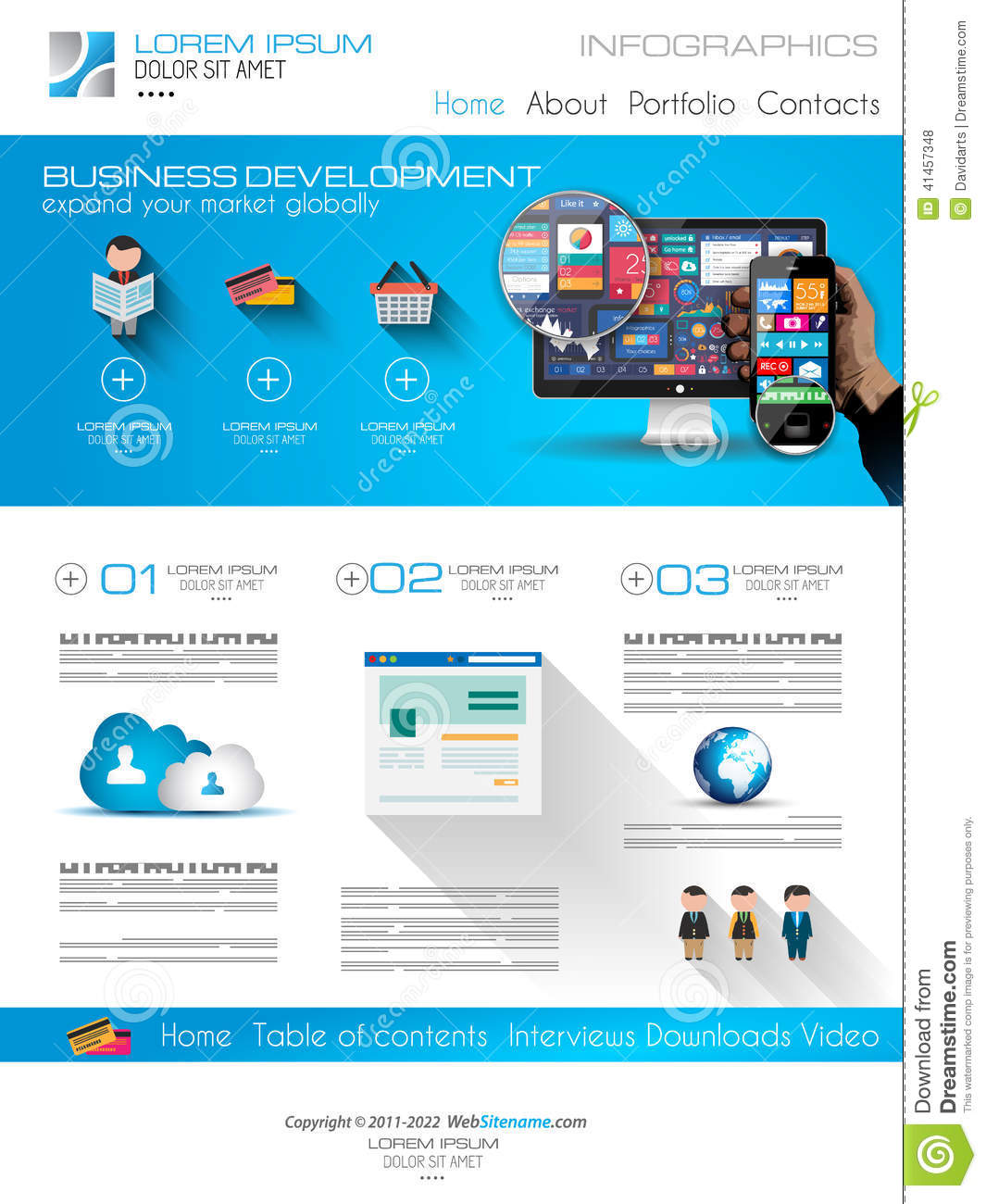 attractive modern business web template with flat ui