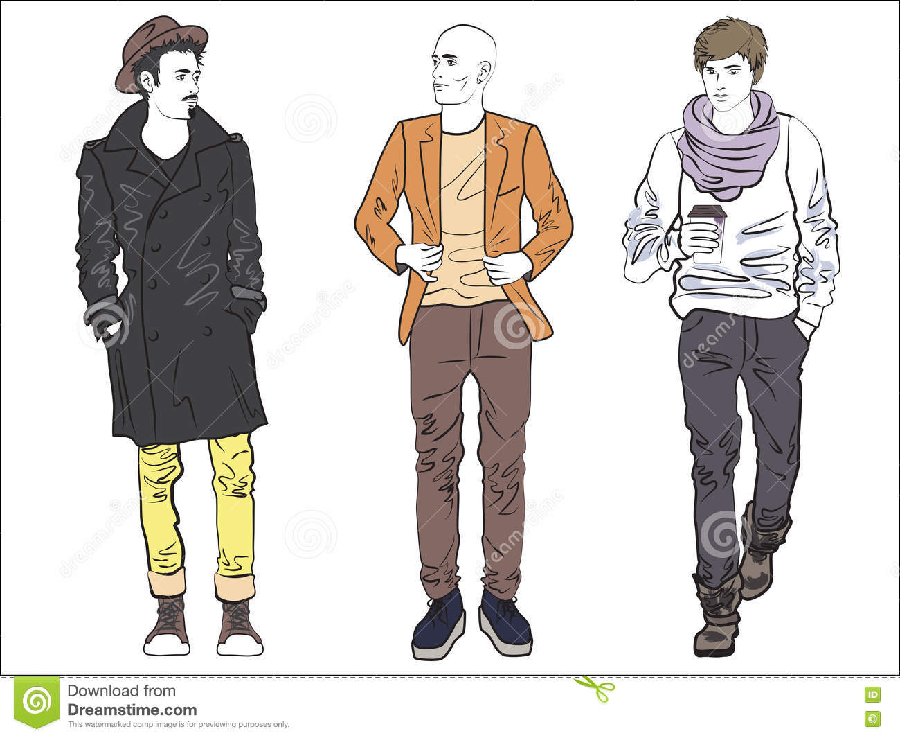 Attractive Modern Fashionable Man Set In Fashion Clothes. Color Line Drawing. Stock Vector ...