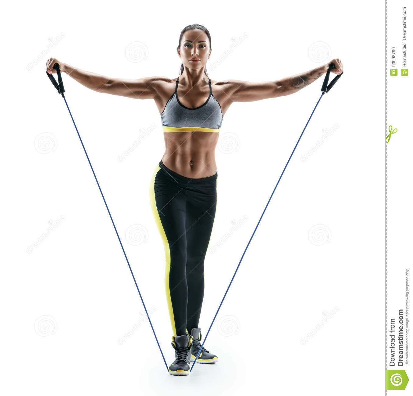 Attractive Muscular Woman Performs Exercises For Deltoid Muscles