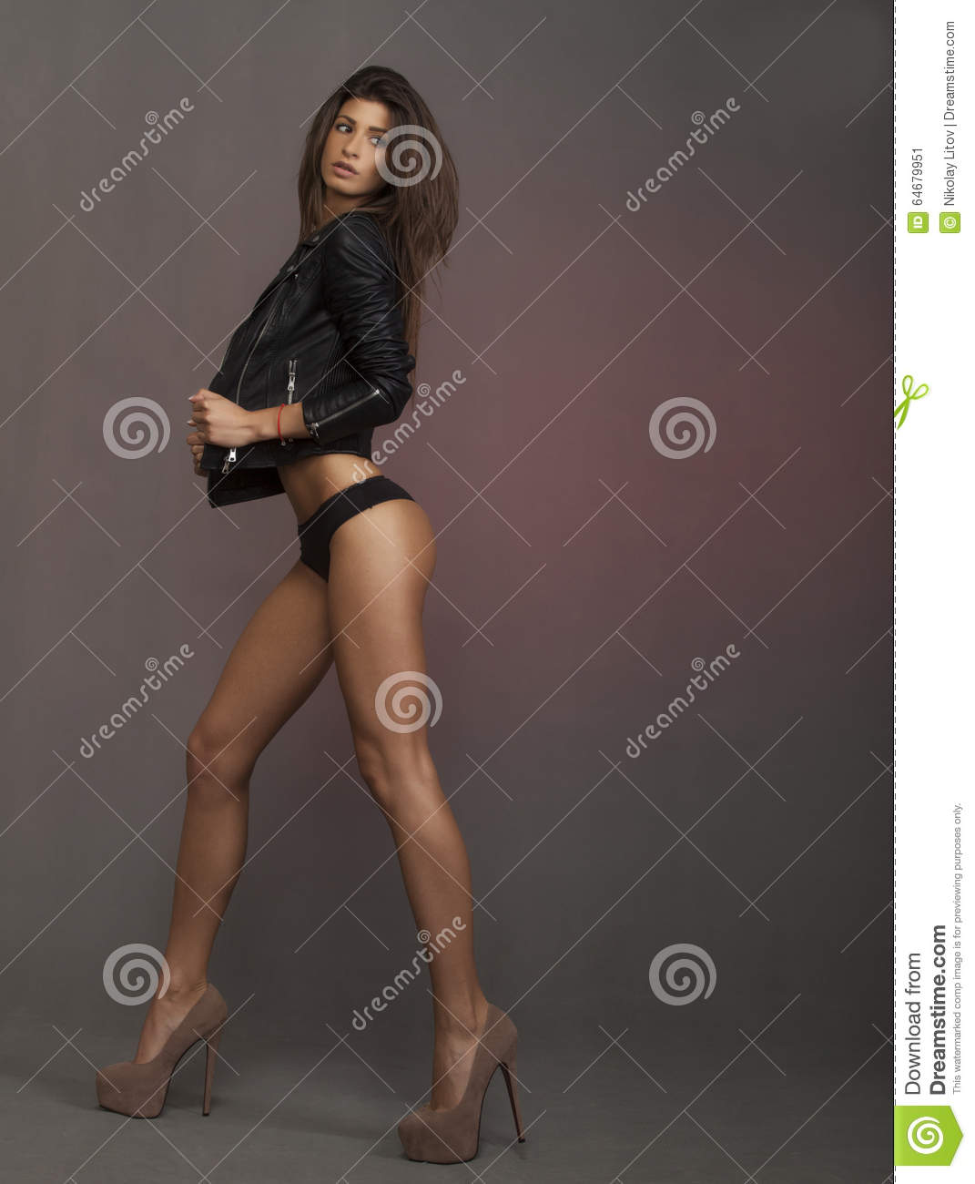 attractive naked brunette girl stock image - image of female, long