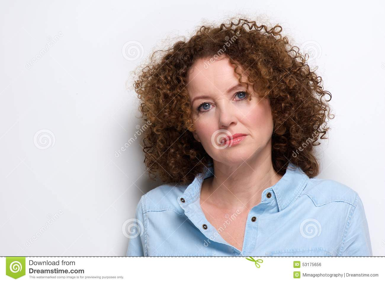 Attractive Older Woman With Curly Hair Stock Photo - Image of ...
