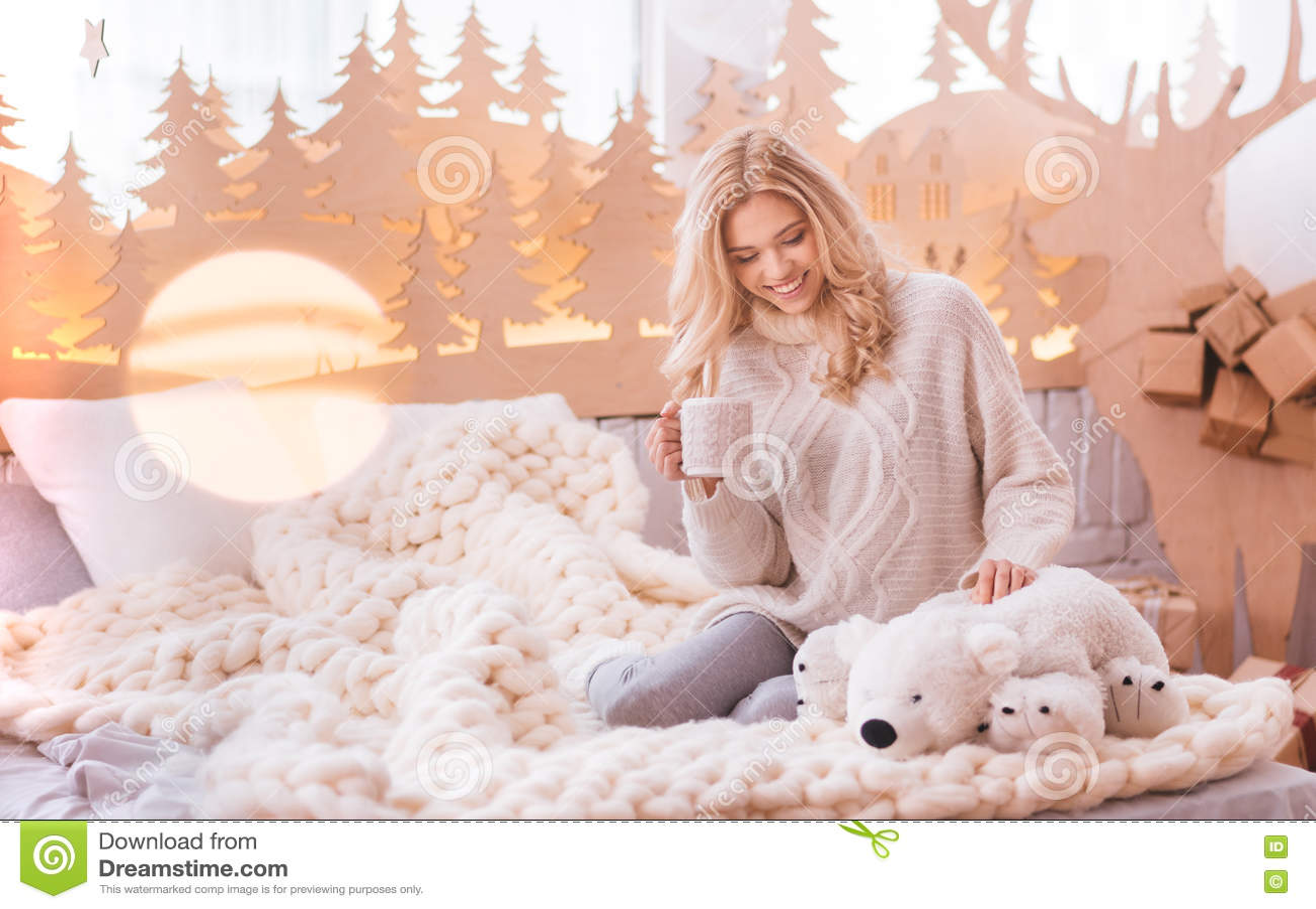 Download Attractive Pleasant Woman Having Tea Stock Image - Image of beautiful, celebration: 82041519