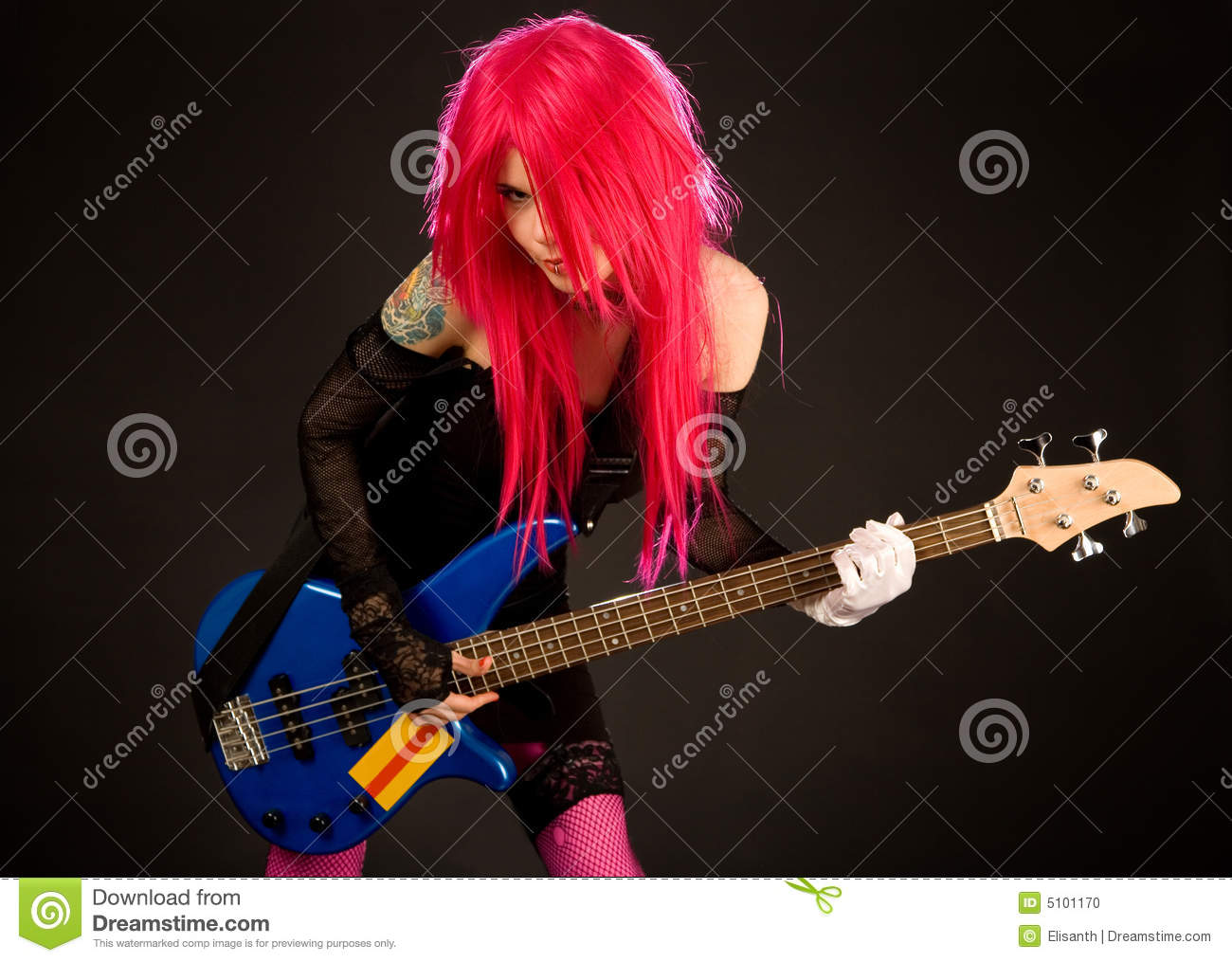 attractive punk girl with bass guitar stock photo image 5101170. Black Bedroom Furniture Sets. Home Design Ideas