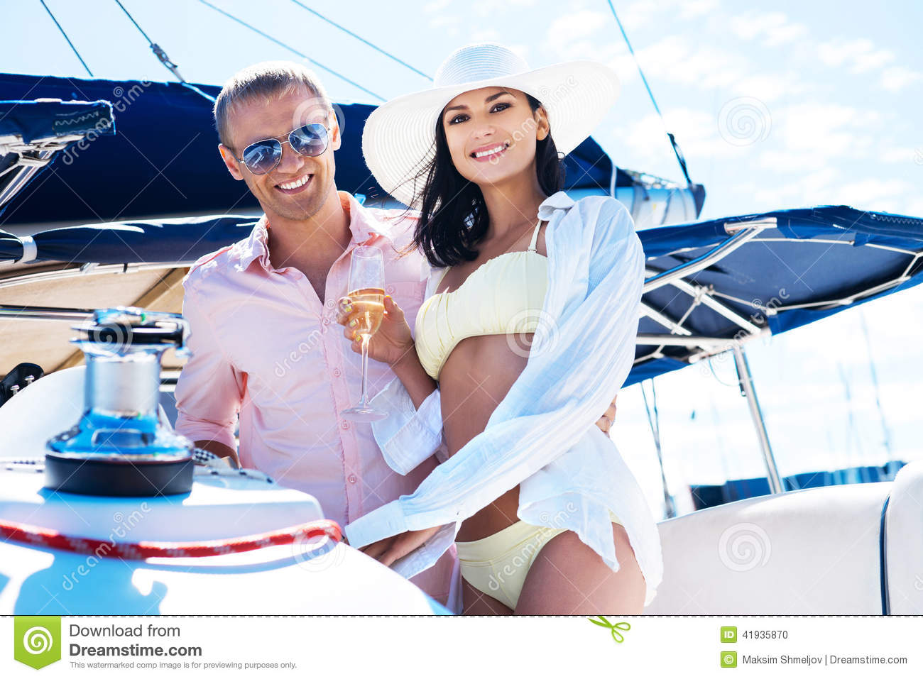 Attractive And Rich Couple Have A Party On A Boat Stock Photo - Image: 41935870
