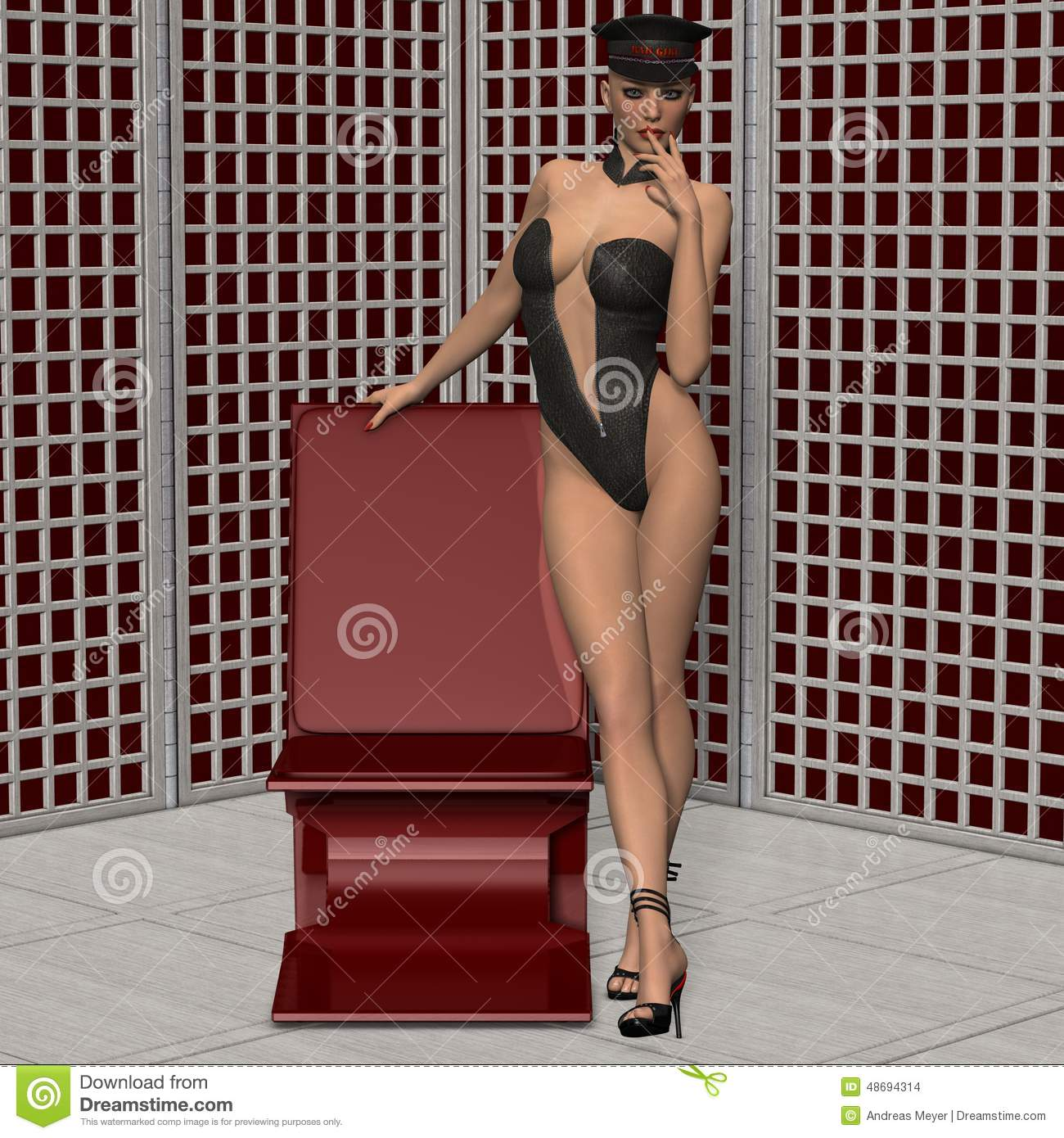 3D Sexy Game attractive girl in fetish wear stock illustration