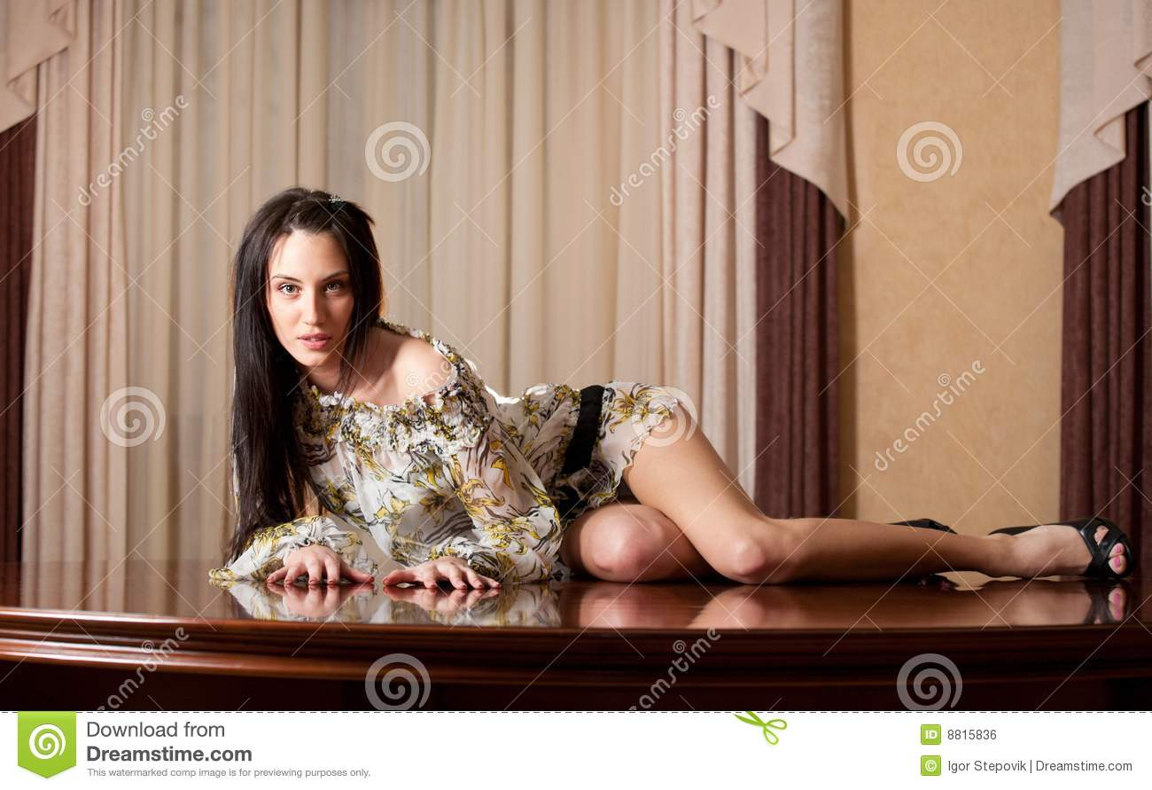 Attractive Girl Lying On Table Stock Photo Image Of Lovely Girls 8815836