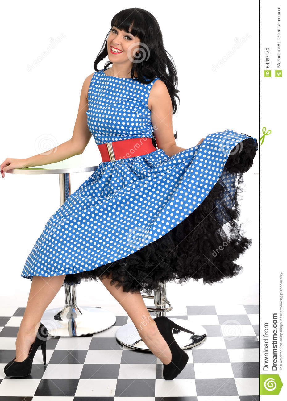 Polka Dot Dress With Red Shoes