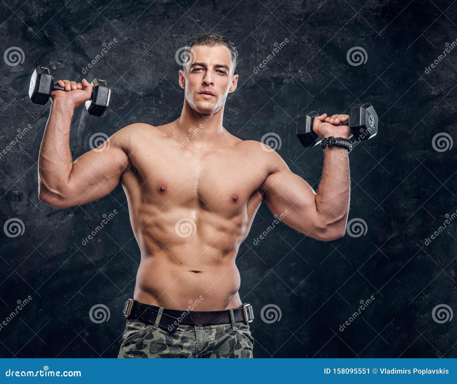 Beautiful Muscular Young Man Shirtless Beautiful Stock