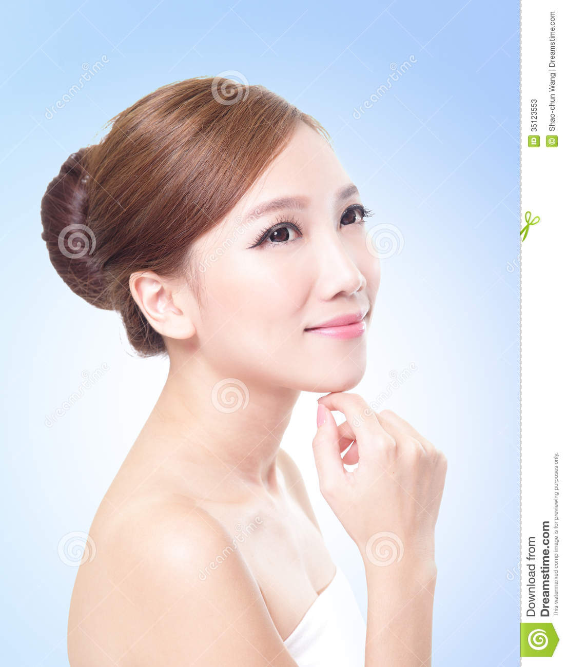 Woman Skin Care: Attractive Skin Care Woman Face Stock Photos