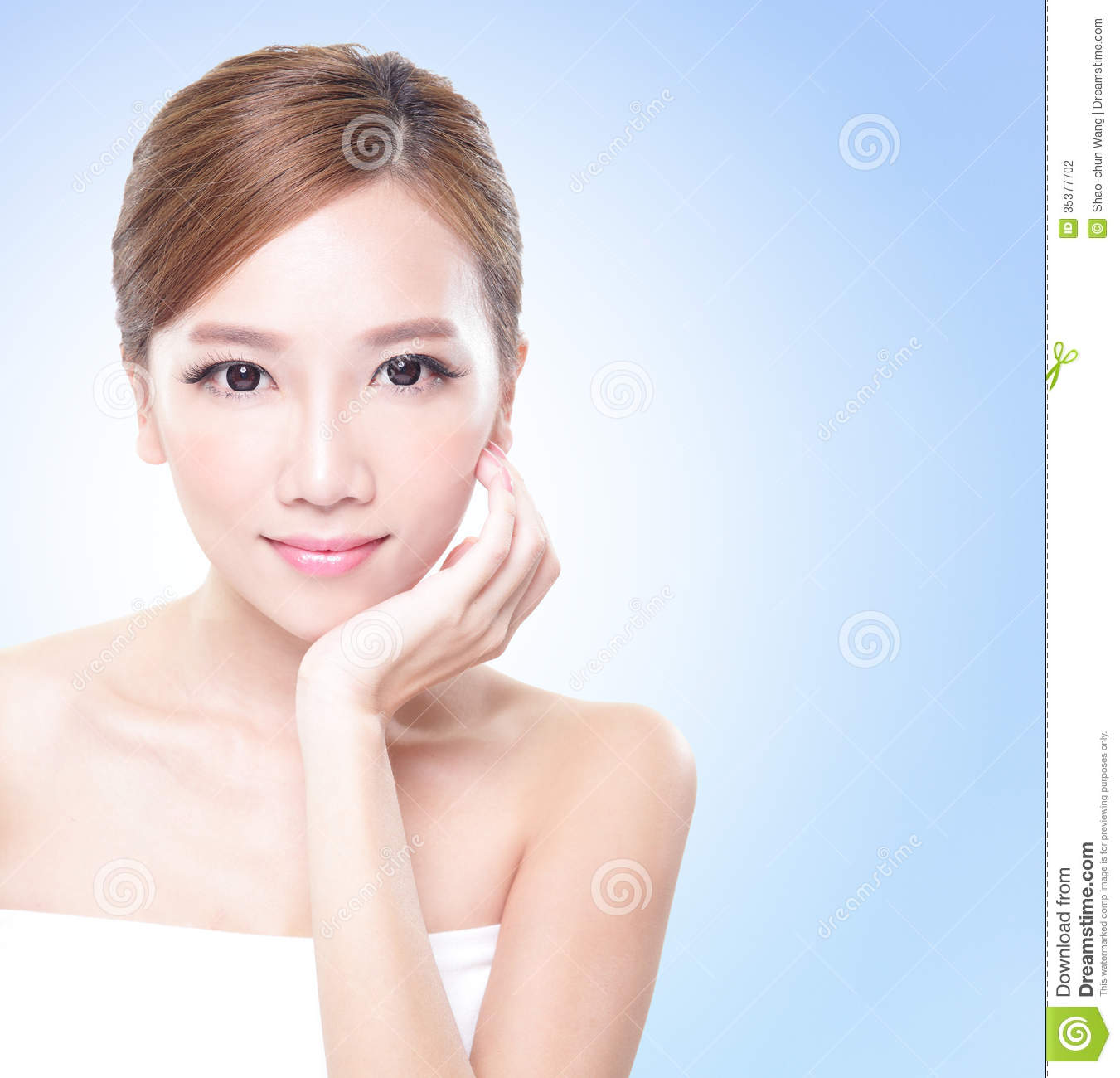 Woman Skin Care: Attractive Skin Care Woman Face Stock Photography