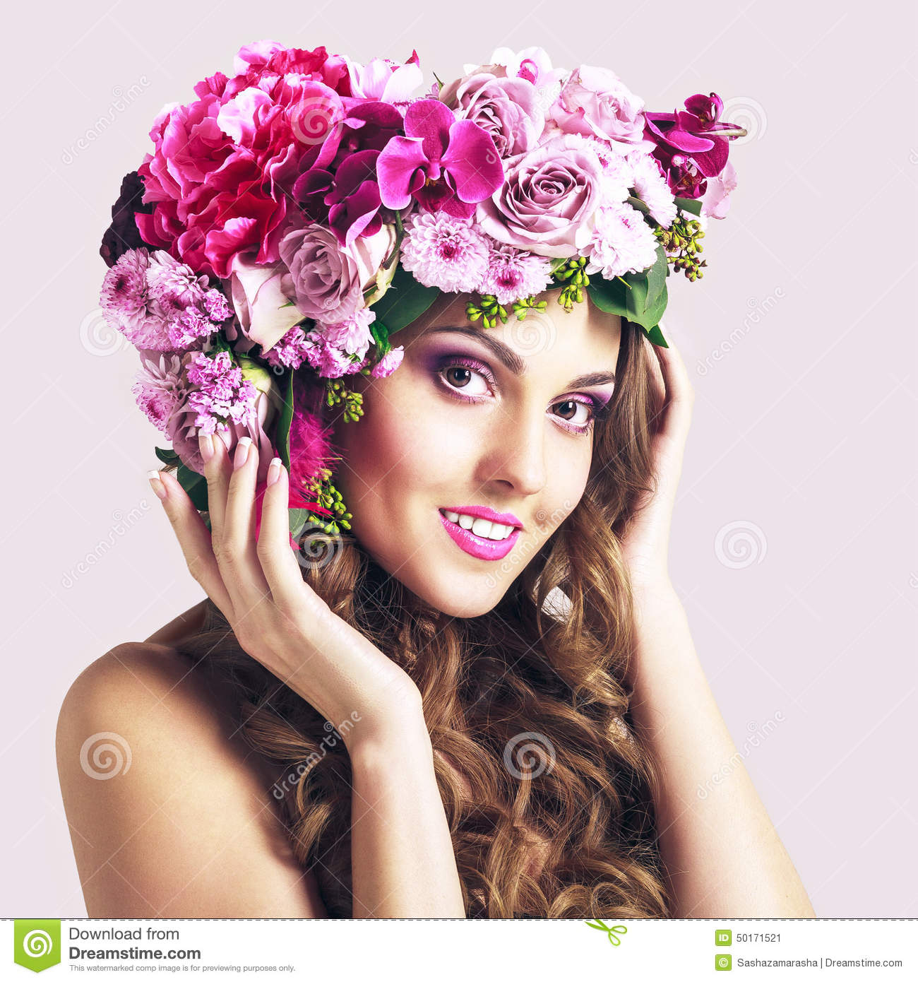 Attractive smiling beautiful girl with flowers crown stock image attractive smiling beautiful girl with flowers crown izmirmasajfo