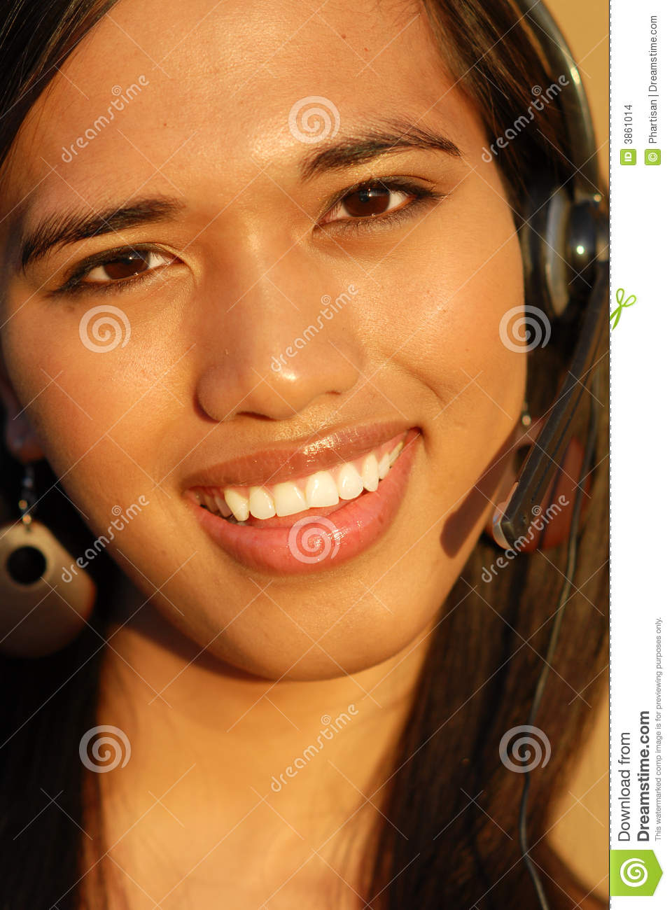 Attractive smiling telephone technical support wom