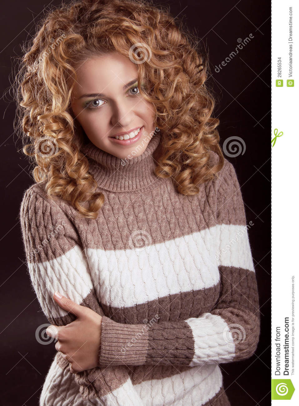 Attractive Smiling Woman Wearing In Sweater Stock Images