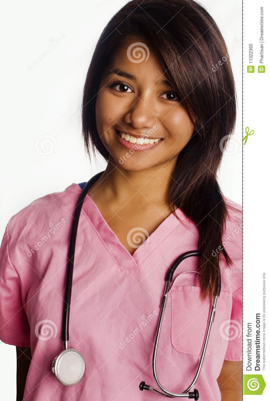 Attractive smiling young Asian student nurse