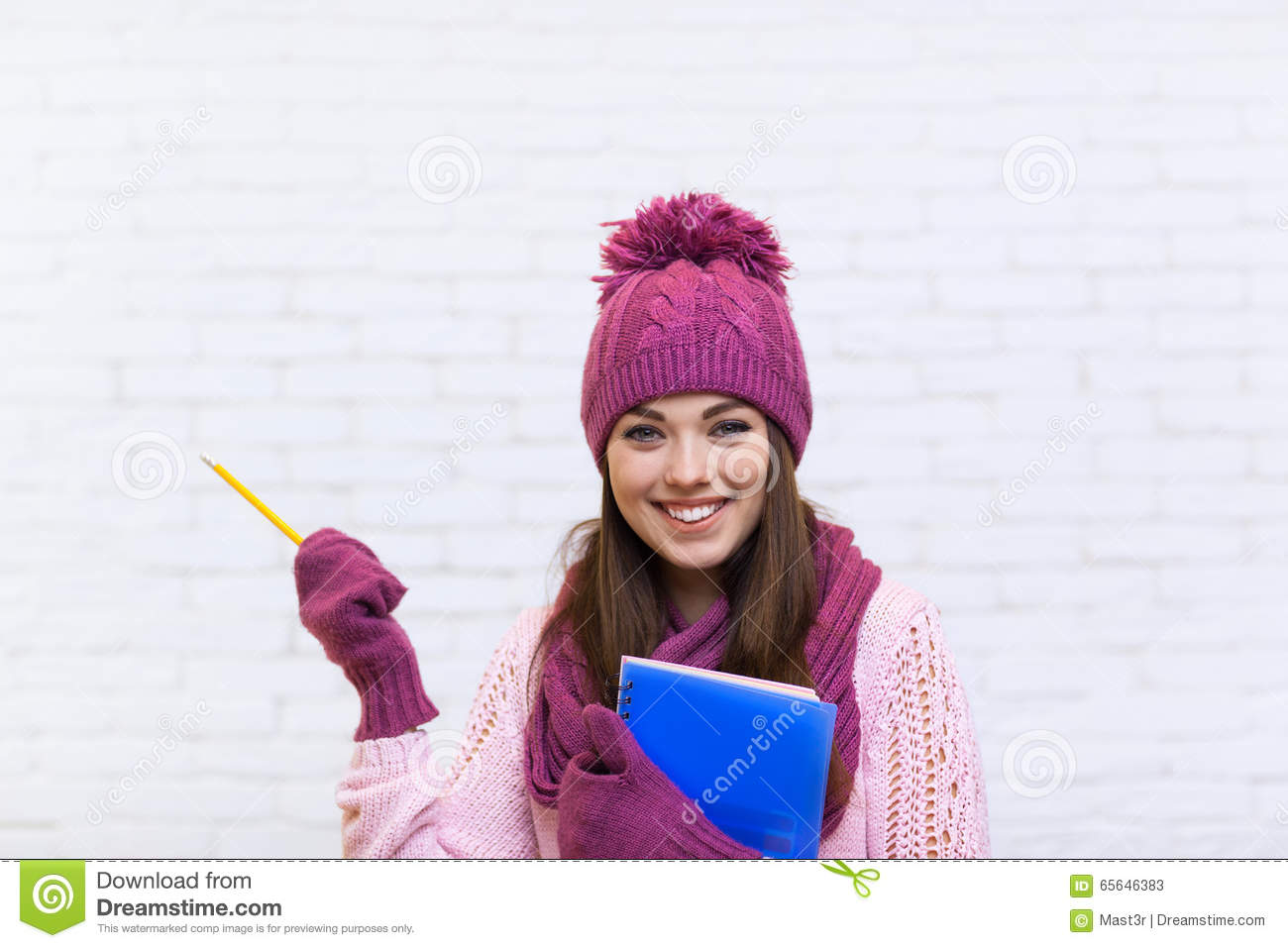 Attractive Student Girl Hand Gesture To Copy Space Smile In Pink Hat Holding Folder Pencil