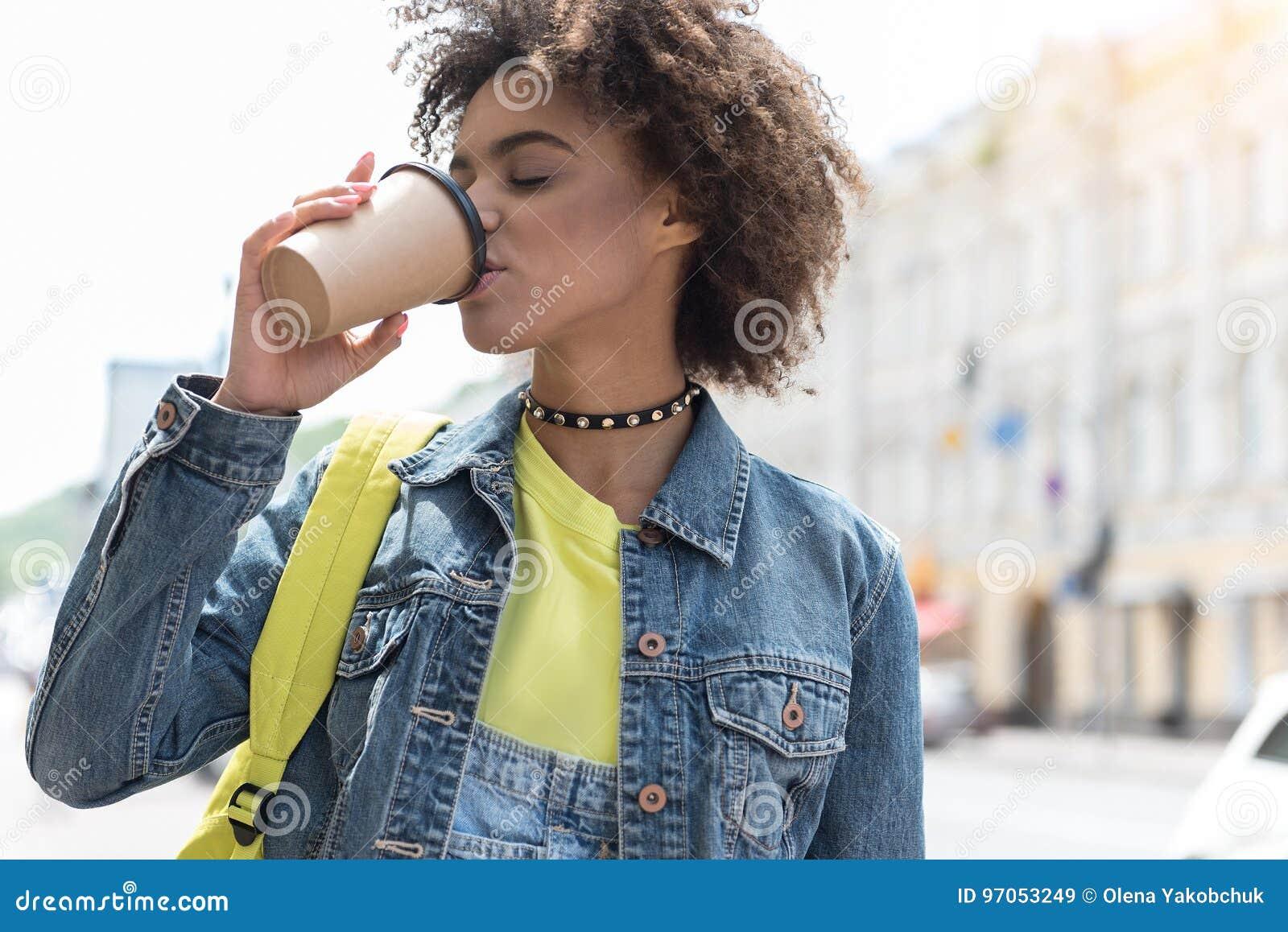 Attractive Stylish Girl Is Enjoying Coffee Outdoors Stock