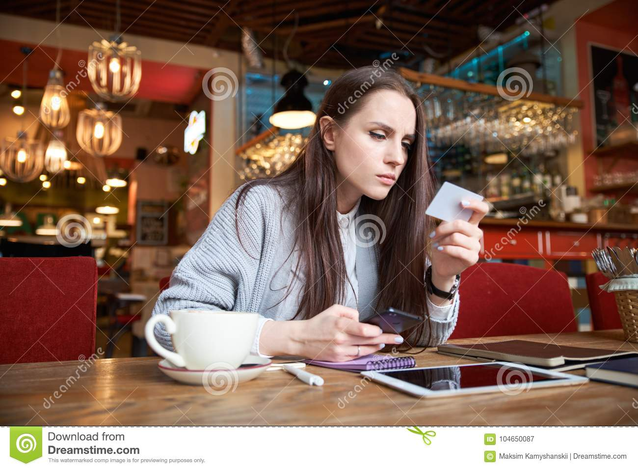 Attractive stylish modern young woman who is shopping in the Int
