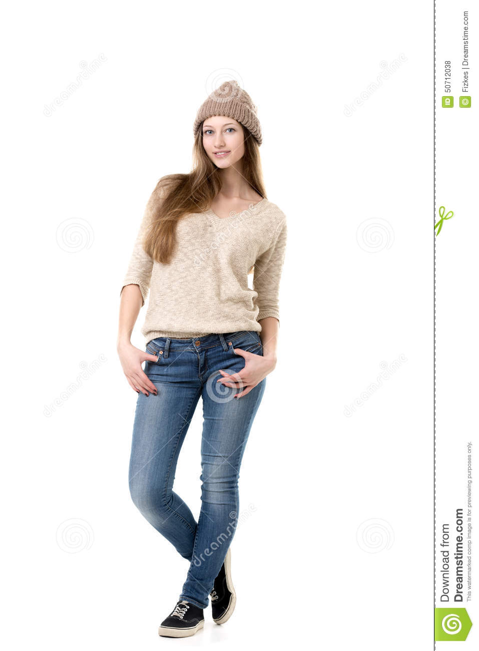Attractive teenage girl wearing casual warm clothes