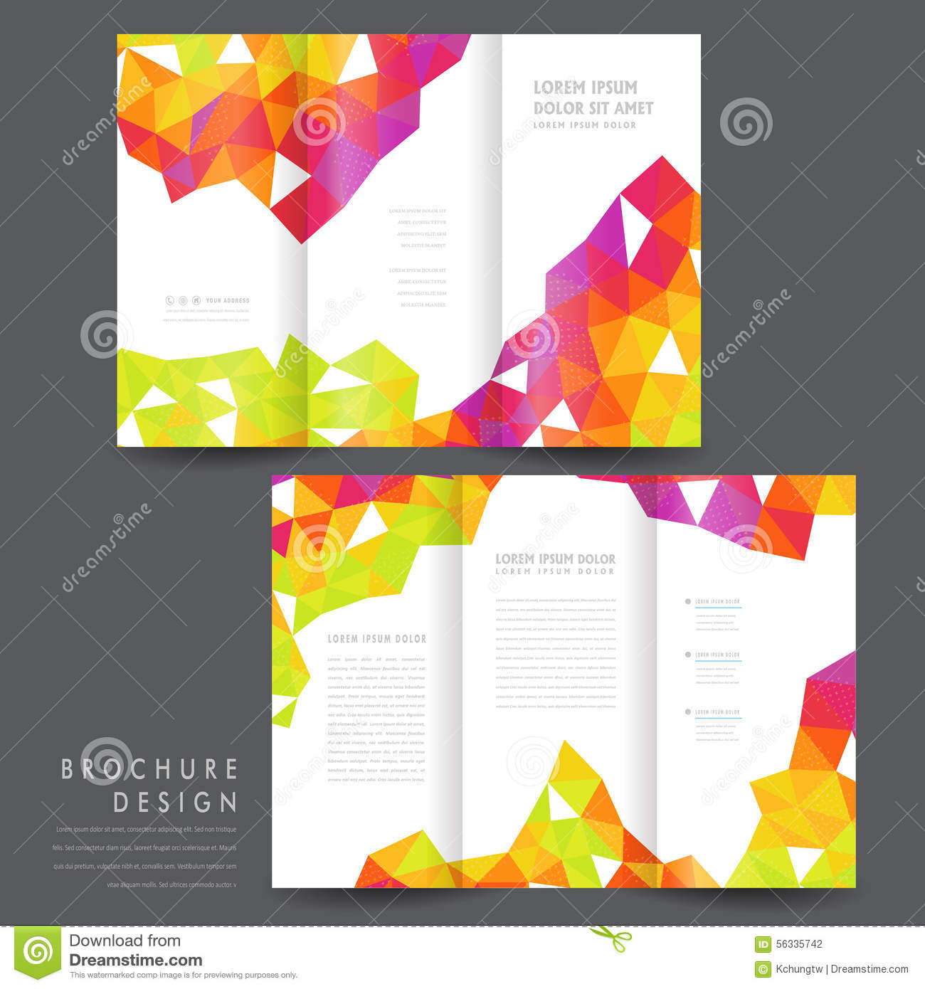 Attractive tri fold brochure template design stock vector for Colorful brochure templates