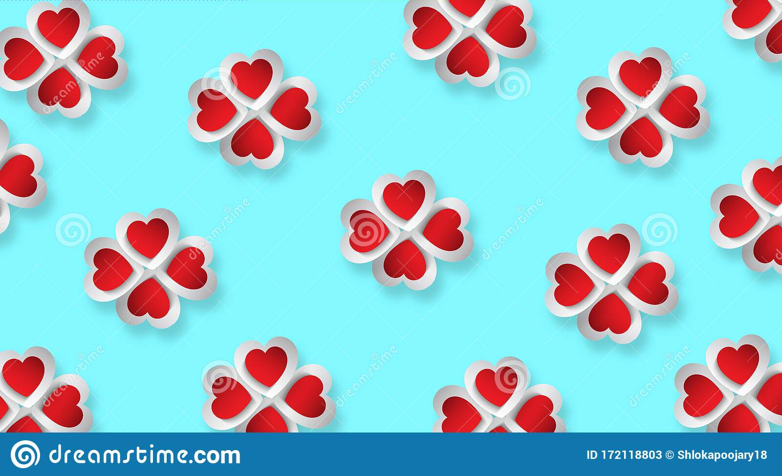 Attractive Unique Design Red And White 3d Hearts Placed In A