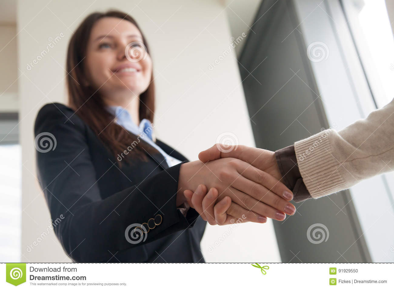 Attractive welcoming businesswoman shaking male hand and smiling