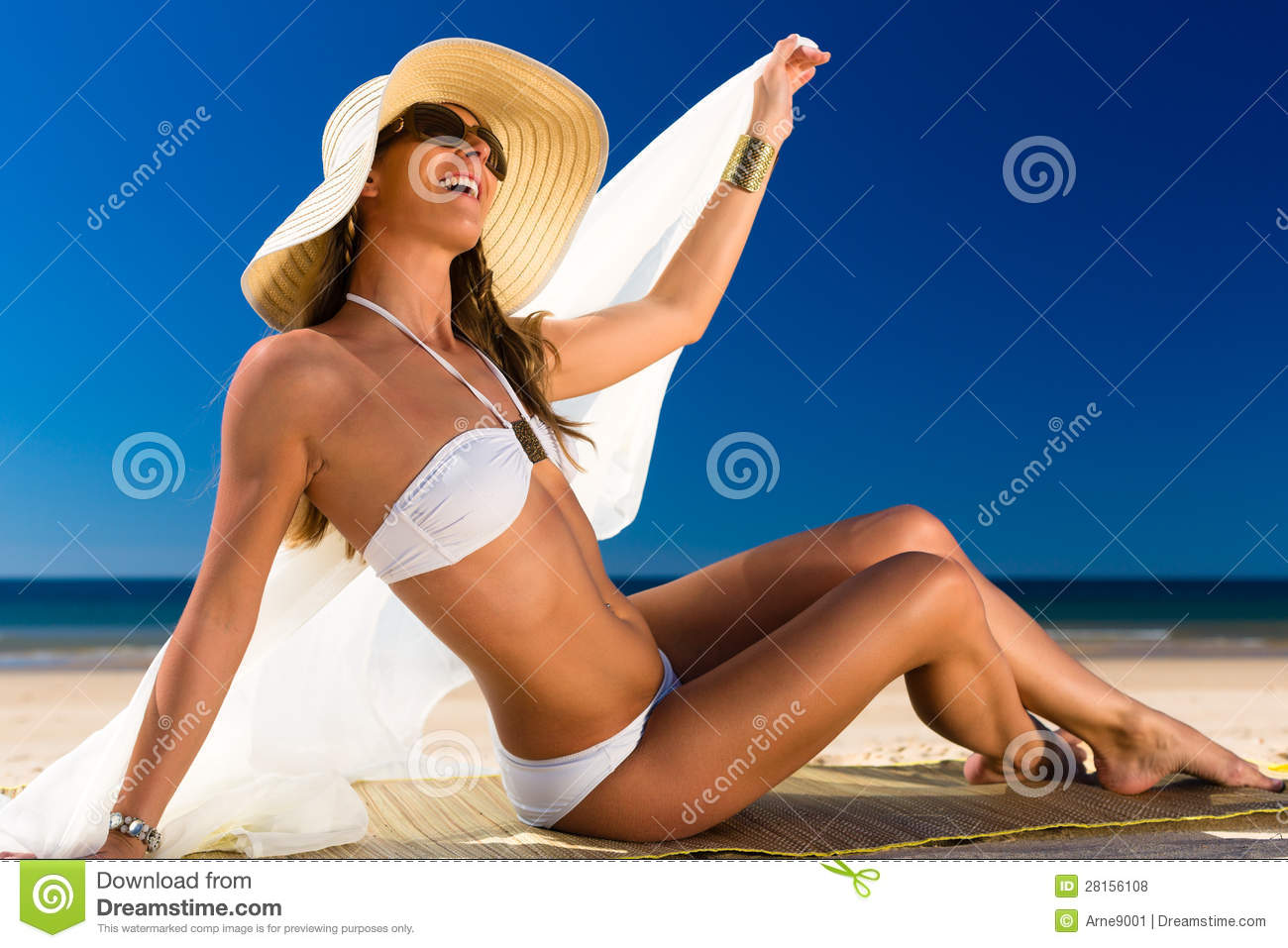 Download Attractive Woman In A Bikini Smiles At The Sun At The Beach Stock Photo - Image of water, sunlit: 28156108