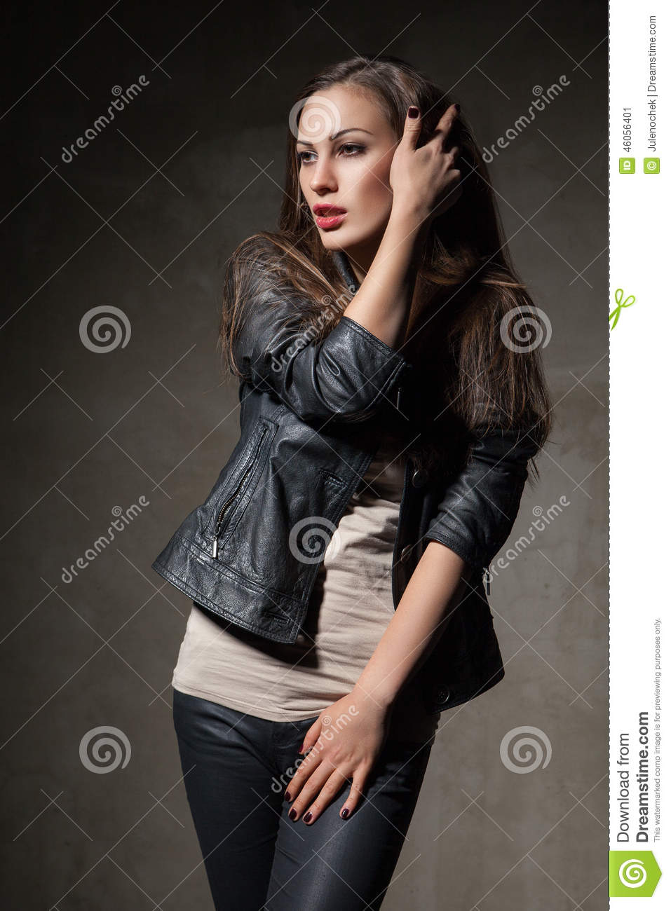 Amazing Attractive Woman In Black Leather Jacket And Pants Stock Photo  Image