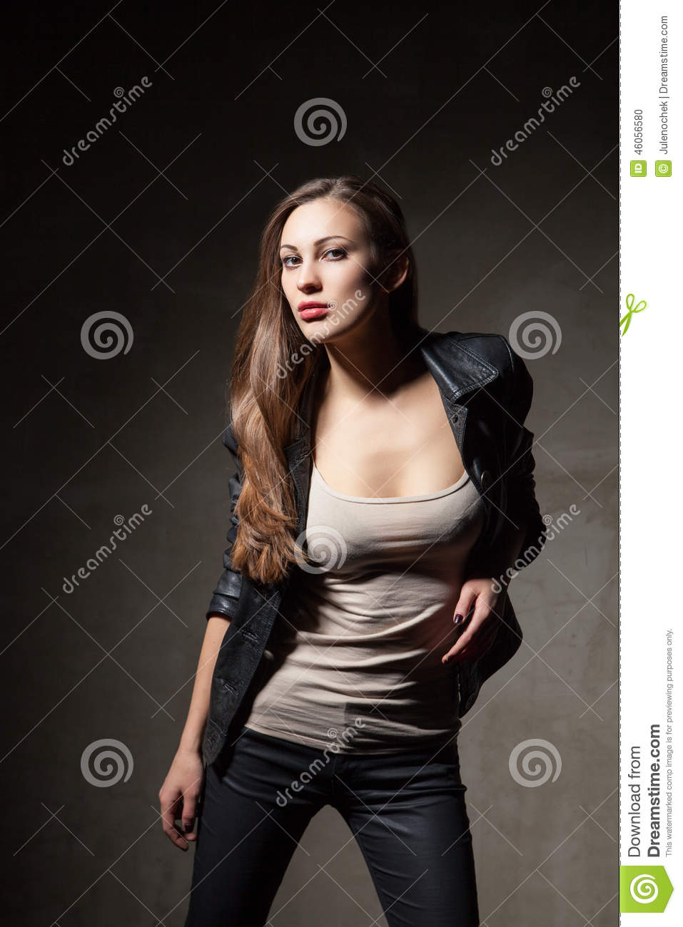 Unique Attractive Woman In Black Leather Jacket And Pants Stock Photo  Image