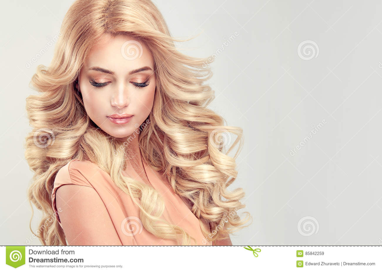 attractive woman blonde with elegant hairstyle stock image image