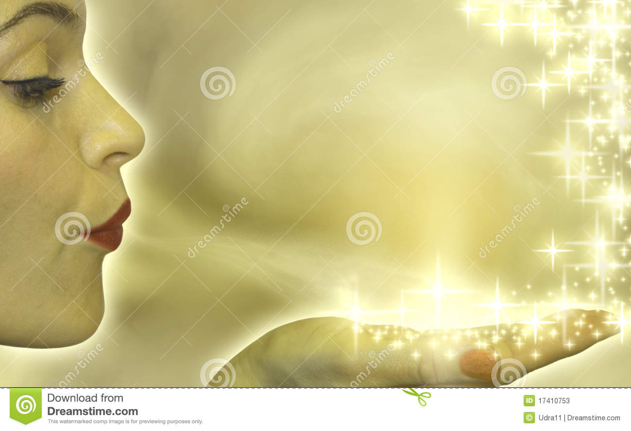 Attractive woman blowing stars
