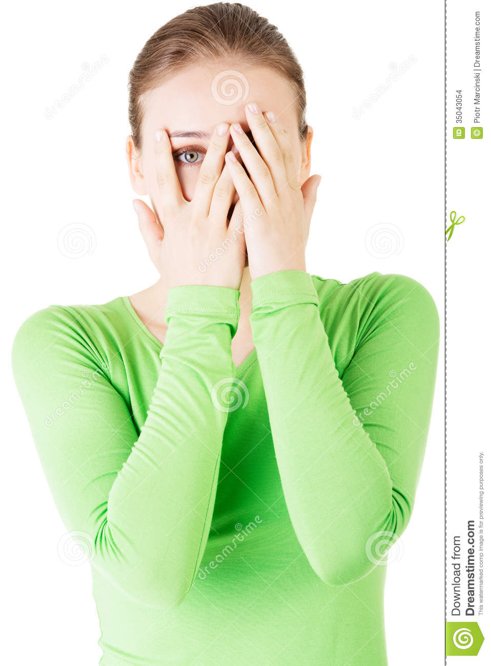 covering face with hands attractive woman covering her face with both hands stock 863