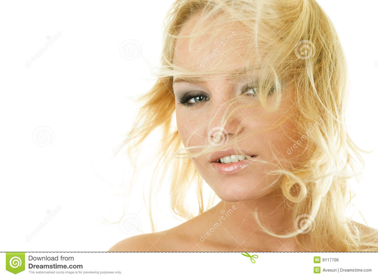 Attractive Woman With Fly-away Hair Royalty Free Stock ...