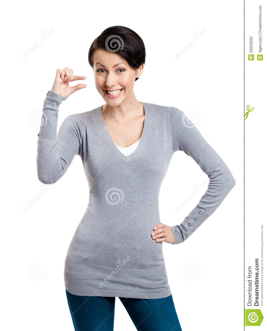 3d small people as super hero stock image image 29971731 - Attractive Woman Gestures Small Amount Stock Photo