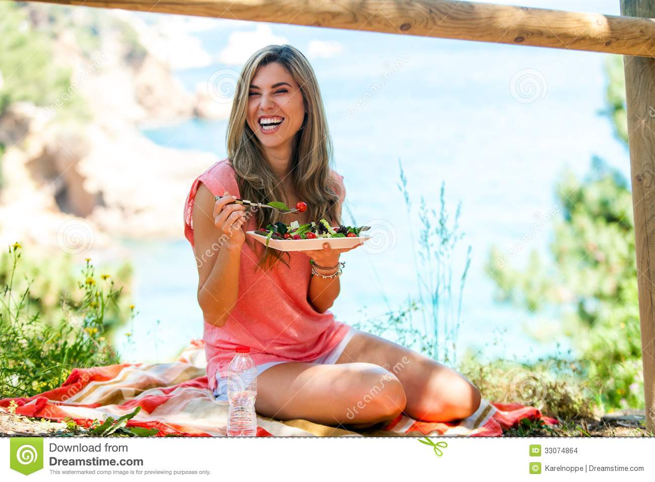 Attractive Woman Having Healthy Picnic Outdoors. Stock ...