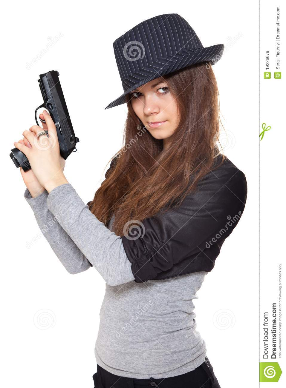 Attractive Woman Holding A Gun Royalty Free Stock Images ...