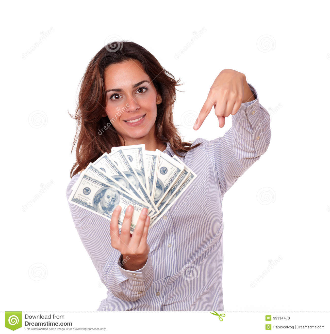 Attractive Woman Holding And Pointing Money Stock Photo ...