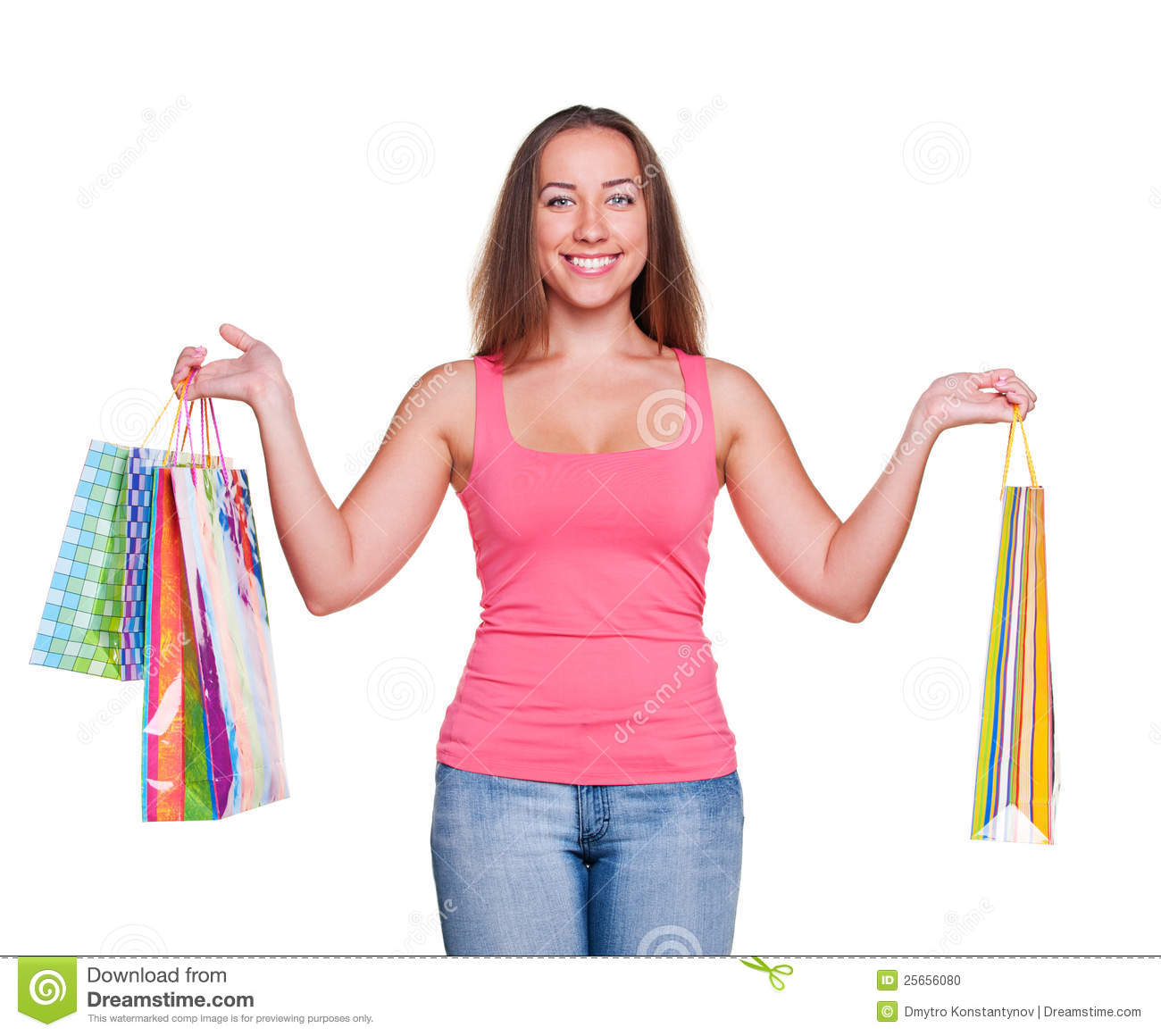 Fantastic Woman Holding Shopping Bags Royalty Free Stock Photo - Image 36388025
