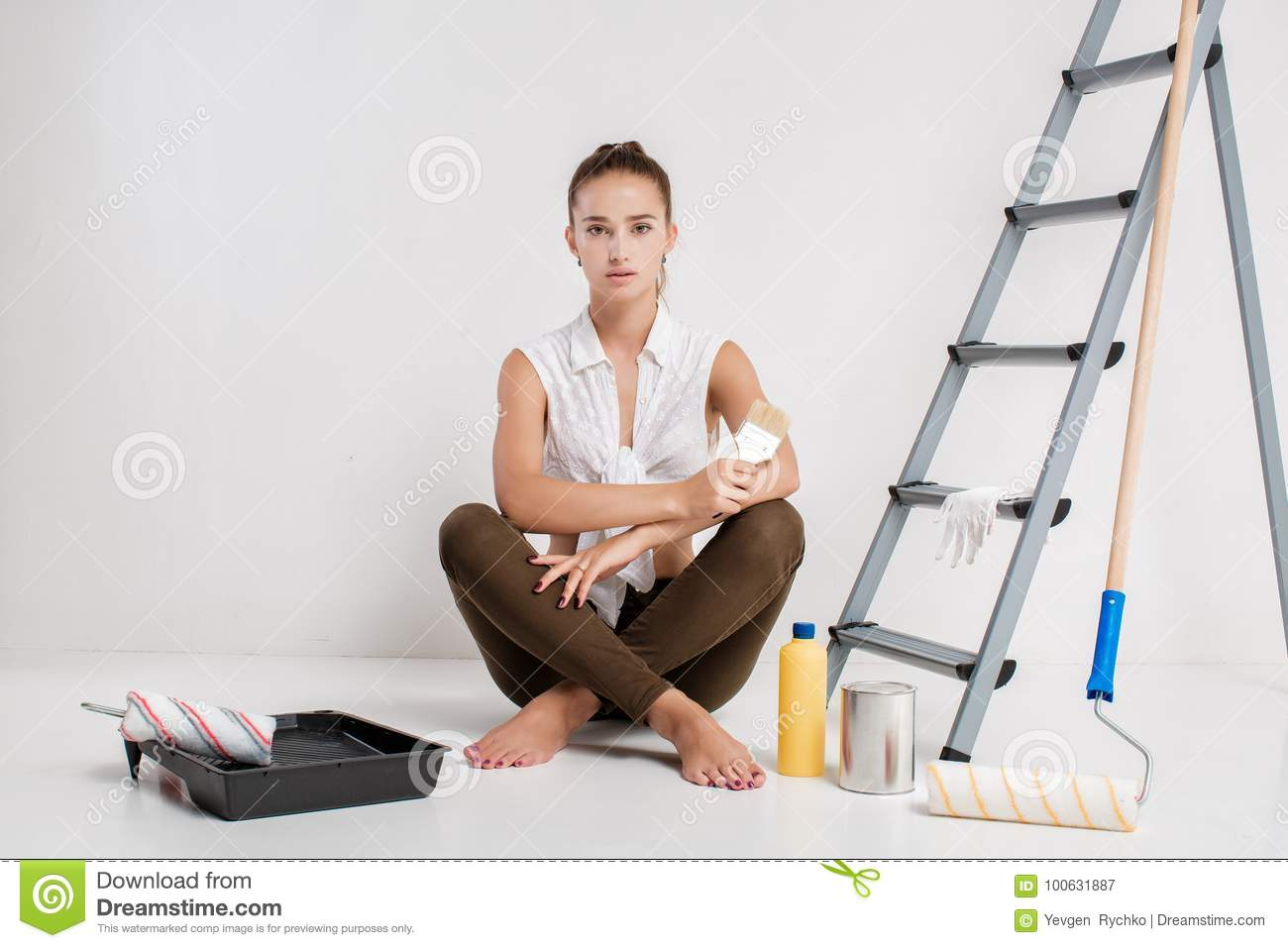 House Painter Painting Residential Home Interior Stock