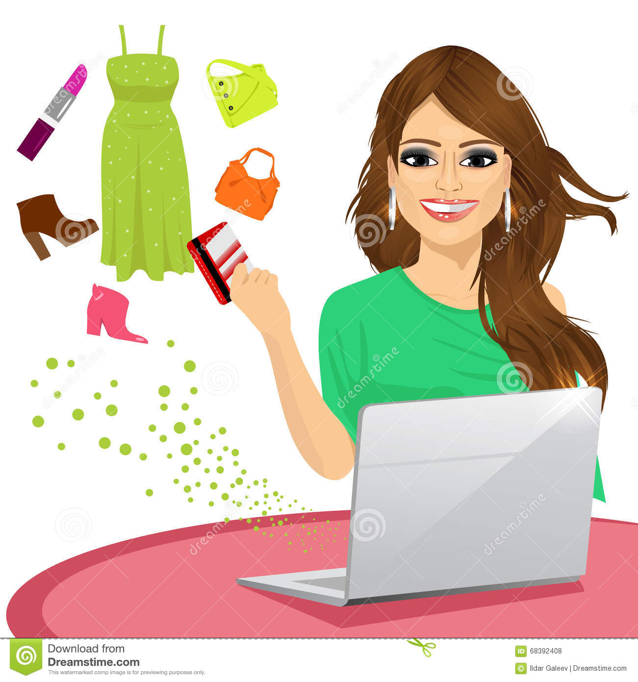 Attractive Woman Shopping Online Using A Laptop With Her ...