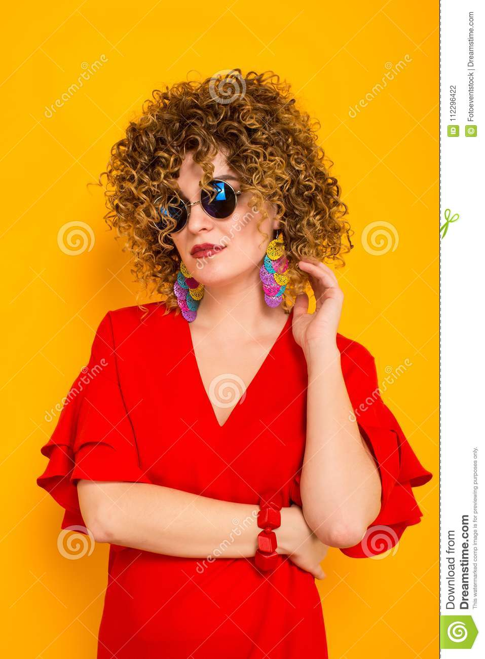 Attractive Woman With Short Curly Hair Stock Photo Image